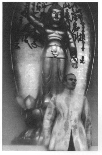 Angel Millar with Buddha statue